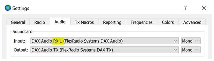 WSJT-X Sound Setting Flex Radio